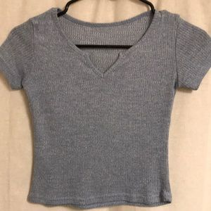 Tops - Blue Ribbed Knit Crop Top